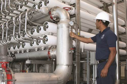 Reverse osmosis systems, shown here at the Kay Bailey Hutchison Desalination Plant , is the most common technology used by Texas desalination plants.