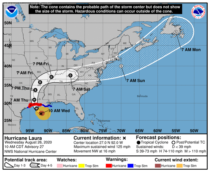 The cone of uncertainty for Hurricane Laura on August 26, 2020