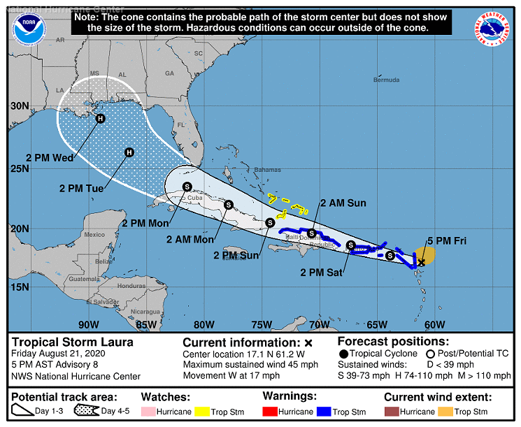 The cone of uncertainty for Hurricane Laura on August 21, 2020