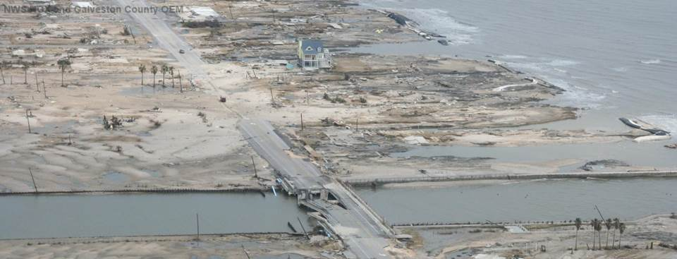 Damage on Texas' Bolivar Peninsula after Hurricane Ike